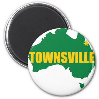 Verde de Townsville e mapa do ouro Ímã Redondo 5.08cm