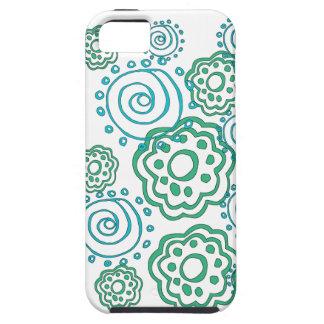 verde de turquesa do teste padrão de flor do capa tough para iPhone 5