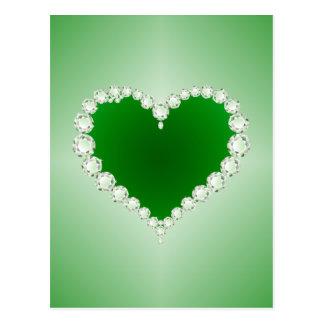 Verde, diamantes, coração, cartão postal