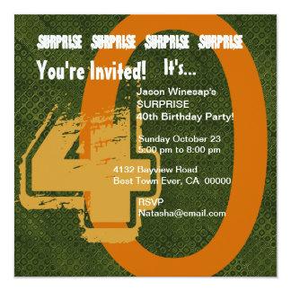 Verde do aniversário de 30 anos do Grunge da Convite Quadrado 13.35 X 13.35cm