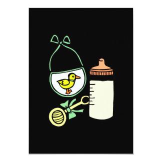 verde do babador do chocalho da garrafa convite 12.7 x 17.78cm