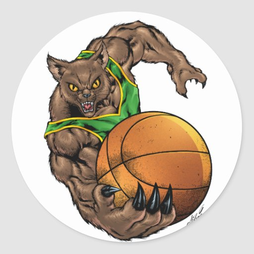 Verde do basquetebol dos linces dos Wildcats, Adesivos Redondos