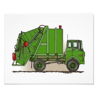 Verde do caminhão de lixo impressão de foto