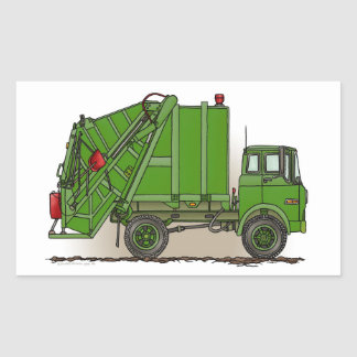 Verde do caminhão de lixo adesivo em formato retângular