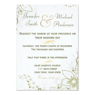 Verde do convite & casamento simples do ouro