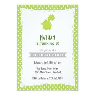 Verde do convite do aniversário do dinossauro convite 12.7 x 17.78cm