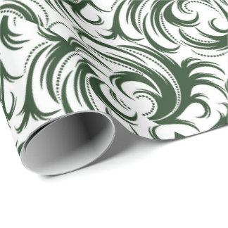 Verde do damasco papel de presente