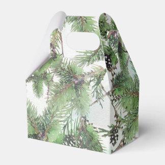 Verde do feriado & casamento no inverno do país caixinha de lembrancinhas