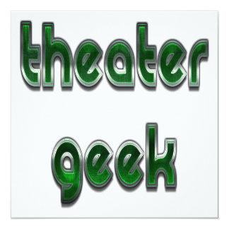 Verde do geek do teatro convite quadrado 13.35 x 13.35cm