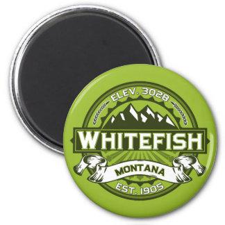 Verde do logotipo do peixe branco ímã redondo 5.08cm