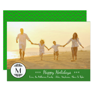 Verde do monograma do vintage - boas festas cartão