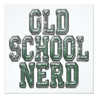 Verde do nerd da velha escola convite quadrado 13.35 x 13.35cm