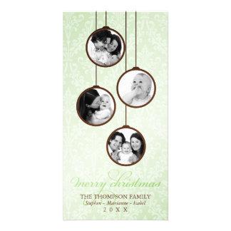 Verde do ornamento & Feliz Natal modernos de Brown Cartão Com Foto