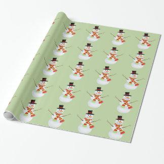 Verde do papel de envolvimento do boneco de neve papel para embrulhos