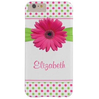 Verde do rosa da margarida do Gerbera das bolinhas Capa Barely There Para iPhone 6 Plus