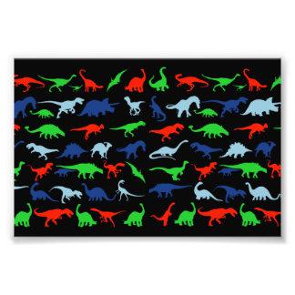 Verde do teste padrão do dinossauro azul e impressão de foto