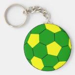 Verde e amarelo do futebol do futebol chaveiro