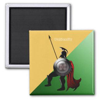 Verde e amarelo espartanos antigos do guerreiro ímã quadrado