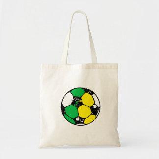 Verde e bola de futebol do ouro sacola tote budget