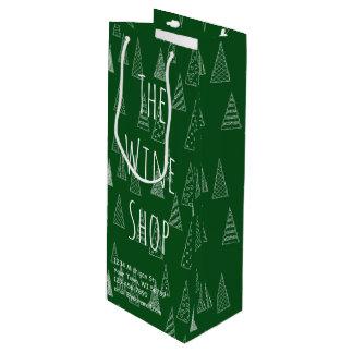 Verde e branco feitos sob encomenda do Natal Sacola Para Vinho