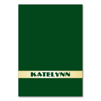 Verde e cartões conhecidos do lugar do modelo do