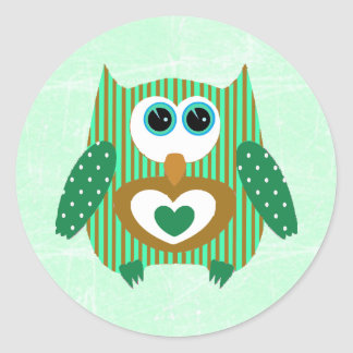 Verde e etiquetas adoráveis bonitos da coruja de