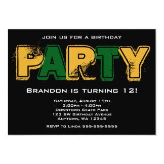 Verde e festa de aniversário do Grunge do ouro Convite 12.7 X 17.78cm