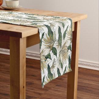 Verde e folhas tropicais do ouro caminho de mesa pequeno