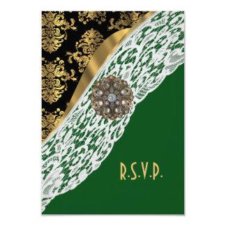 Verde e laço branco preto do ouro que wedding convite 8.89 x 12.7cm