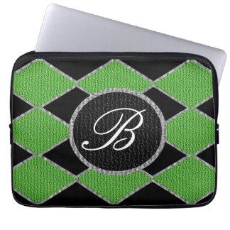 Verde e laptop Ca da faísca do monograma do carvão Capa Para Notebook