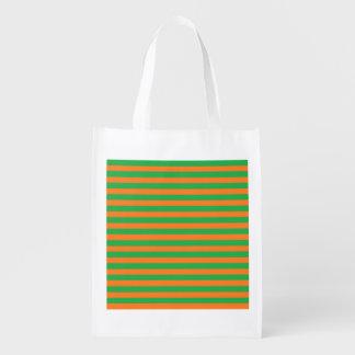 Verde e laranja listra a bolsa de compra reusável sacolas ecológicas para supermercado