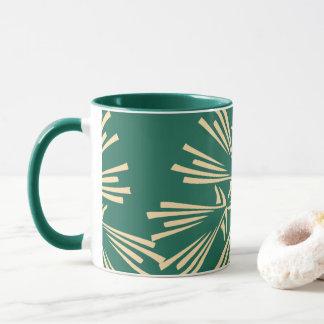 Verde e luz - caneca de café abstrata amarela do