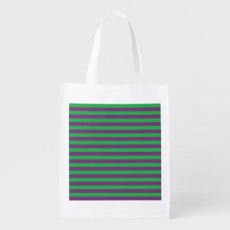 Verde e roxo listra a bolsa de compra reusável sacolas ecológicas para supermercado