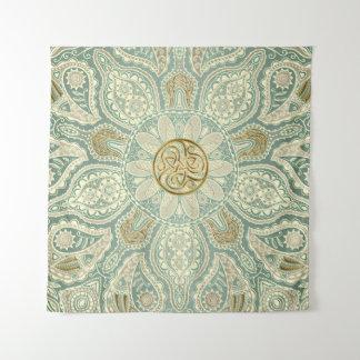 Green and Gold Celtic Triskele Mandala Tapestry