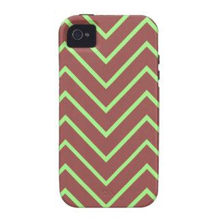 Verde e teste padrão de ziguezague de Brown Capas Para iPhone 4/4S