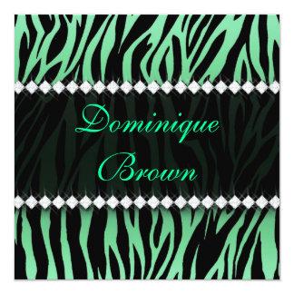 Verde elegante a zebra Jeweled convida Convite Quadrado 13.35 X 13.35cm