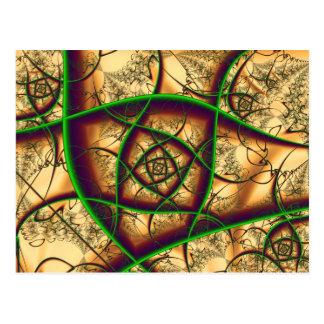 Verde em belas artes do Fractal do ouro Cartão Postal