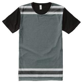 Verde escuro com guarnição de prata e preta camiseta com impressão frontal completa