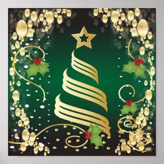 Verde escuro festivo e ouro do Feliz Natal Poster