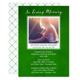 Verde esmeralda em memorial Loving da foto da Convite 12.7 X 17.78cm