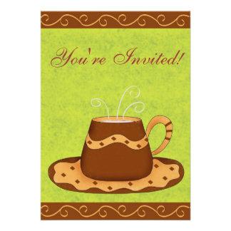 Verde & evento personalizado do café do copo de Br Convites