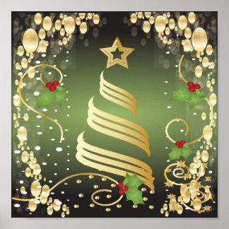 Verde festivo e ouro do Feliz Natal Impressão