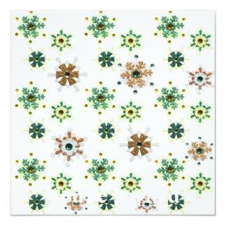Verde & flocos de neve Sparkling do inverno do Convite Quadrado 13.35 X 13.35cm