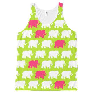 Verde limão e elefantes cor-de-rosa regata com estampa completa