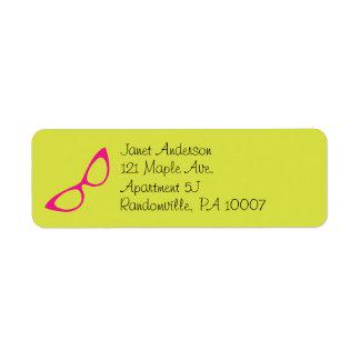 Verde limão & etiquetas de endereço cor-de-rosa