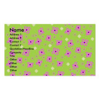 Verde limão retro & rosa do papel de parede modelos cartões de visita