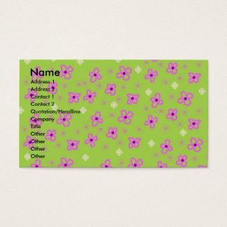 Verde limão retro & rosa do papel de parede cartão de visitas