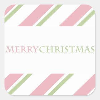 Verde listrado do rosa da etiqueta do feriado adesivos quadrados