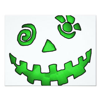 Verde louco da cara da abóbora da lanterna de Jack Convites Personalizados