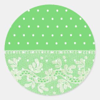 Verde macio bonito com pontos brancos e laço adesivos redondos